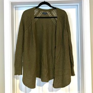 American Eagle olive woven cardigan